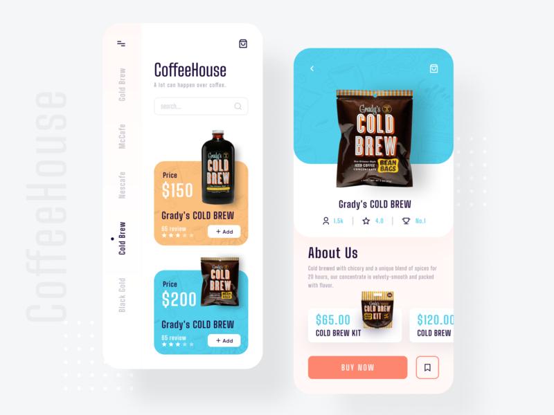 Coffee House App Design app design app ui imran clean minimal ui design user inteface user experience uiux design product popular food ordering app food app ecommerce app trendy 2019 trend coffeeshop coffee cart