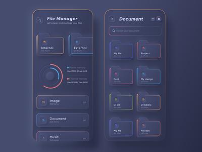 Skeuomorph File Manager App |  Dark Mode ui design app design trendy minimal user experience ios app design app ui folder file upload google drive google design dropbox file manager app file manager file explorer file skeuomorph