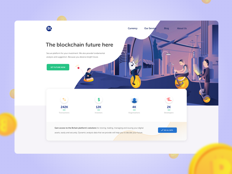 Blockchain Landing Page Interface Design landing page illustration bitcoin cryptocurrency blockchain