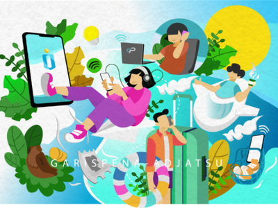 Many conveniences in one application mobile app application flatdesign illustration illustrator web uiux ui
