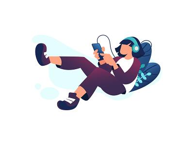 listen to music online flatdesign character ilustration web flat ux design illustration vector ui