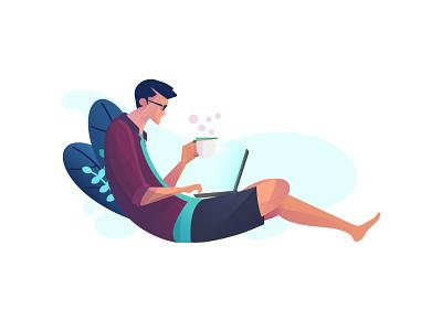 working ilustration web ux flat design illustration vector ui
