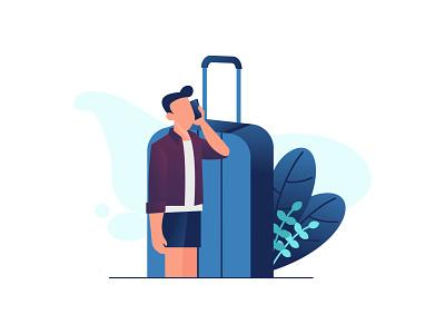 contact travel services flatdesign web ux flat design illustration vector ui