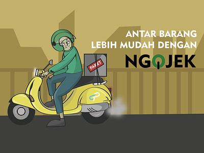deliver package orders cartoon illustration package order delivery bike driver branding logo character ilustration illustration ux flat design ui vector