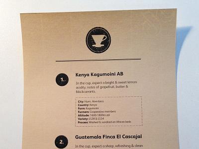 Coffee Menu  craft coffee vector paper print