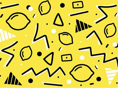 T Cosmetics Lemon Pattern 90s pattern illustration vector lemon yellow