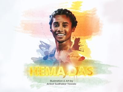 Hima Das - Digital portrait