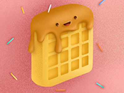 Waffle illustration design meal eat icons yummy procreate icon breakfast texture illustration food waffles