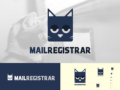 MailRegister Logo Design simple unique design branding mailbox cat minimal logo design register mail
