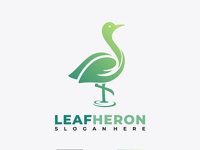 LEAF HERON logo design identity branding icon unique minimal logodesign logo bird heron leaf