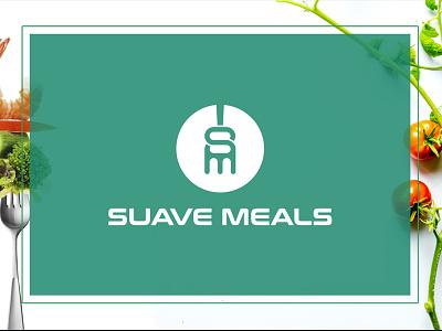 SUAVE MEALS logo design logo design unique identity design branding minimal creative nature fastfood food circle sm fork restaurant