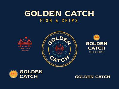 Golden Catch | Primary Logo restaurant california san jose logo branding golden gate badge scenery chips fish golden gate bridge seafood