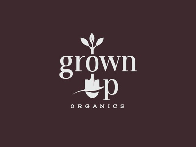 Grown Up Organics branding logo vegetables fruit pdx leaves shovel oregon portland pacific coast fruit co. grown up organics
