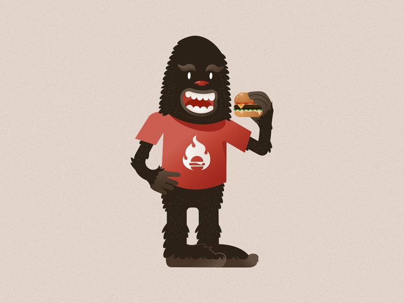 Dicksquatch illustration service industry mascot character portland dicks kitchen burger sasquatch dicksquatch