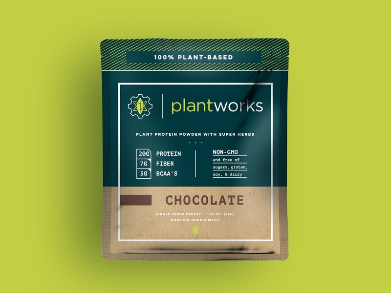 Plant Works Packaging leaves leaf gear plant based protein powder package packaging fitness plant works