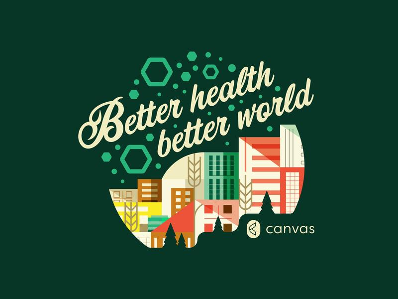 Canvas T-shirt wheat wellness tshirt trees shake protein probiotics portland pdx oregon health drink local cityscape drink city buildings