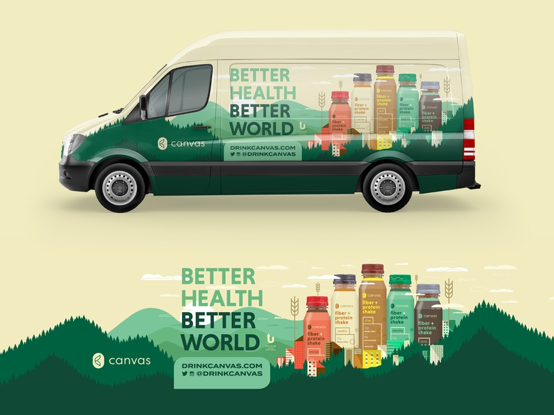 Canvas Van Wrap decal wrap van buildings city drink cityscape drink local health oregon pdx portland probiotics protein shake trees tshirt wellness wheat