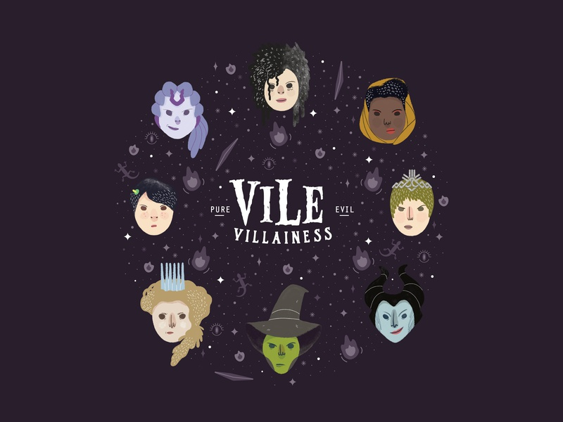 Vile Villainess T-shirt mayday disney harry potter bellatrix gigantic xenobia wicked witch jadis maleficent cersei oren ishii illustration vile villainess