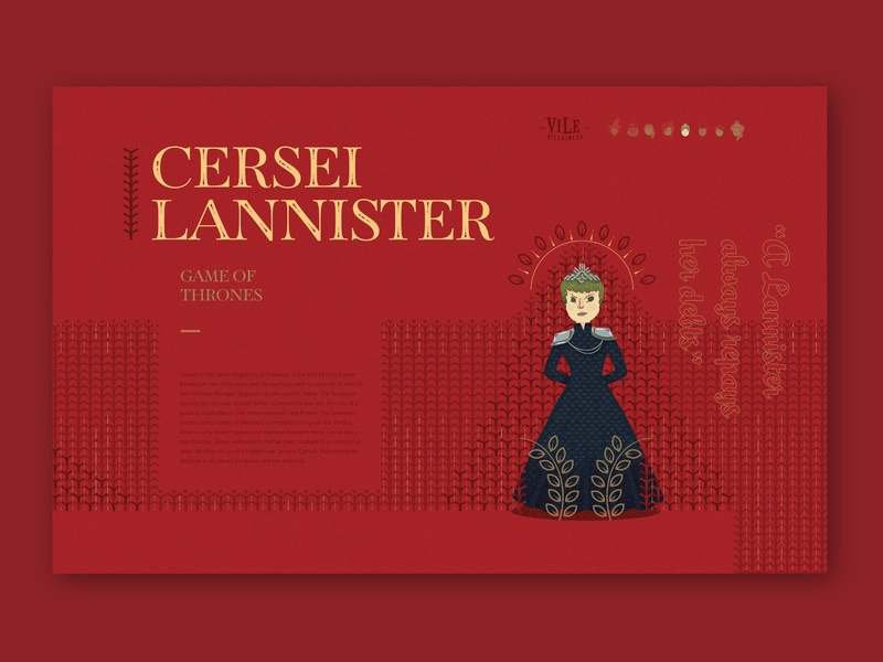 Vile Villainess - Cersei Bio lannister website illustration got game of thrones cersei