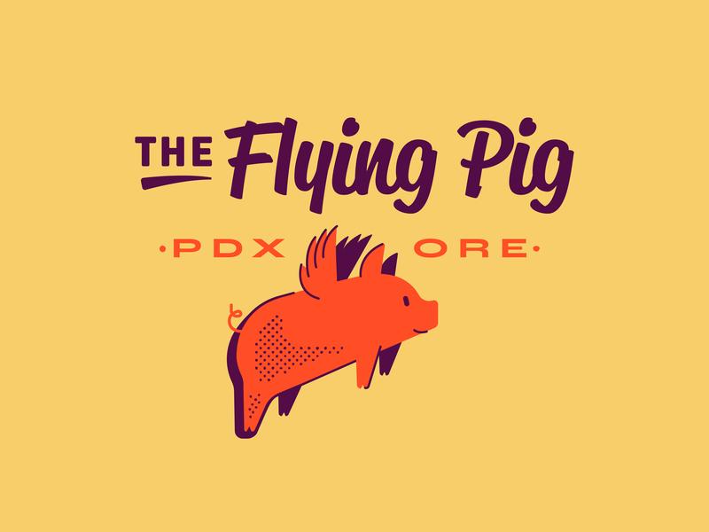 The Flying Pig branding logo illustration animals mammals wings pig flying pig