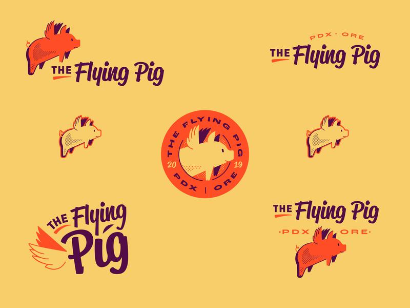 The Flying Pig - Brand Family flying pig pig wings mammals animals illustration logo branding