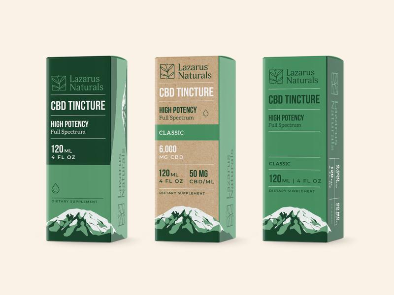 Lazarus Tincture Boxes - Unused cbd tincture mountain packaging branding lazarus naturals