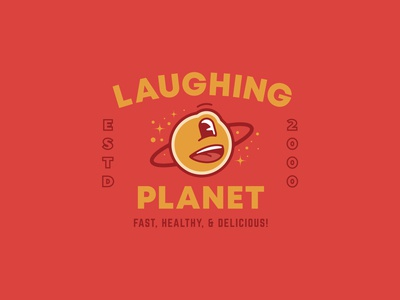 Laughing Planet - T-Shirt Design portland branding planet earth food stars space planet laughing planet