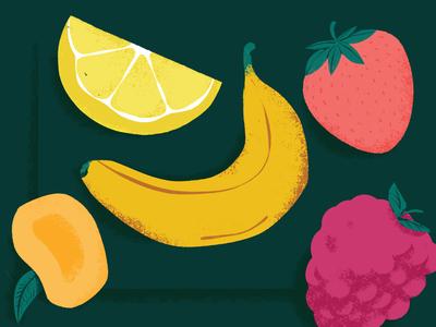 Fruit! raspberries mango lemon strawberry banana illustration fruit