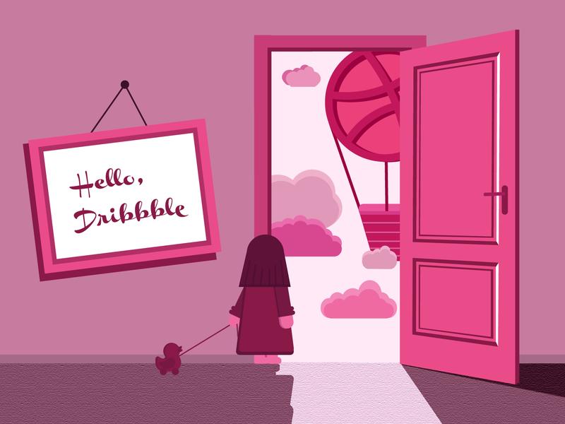 Hello, Dribbble! invite vector illustration