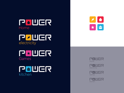 Power seriality seriality icons power colorful kitchen games electricity home logo