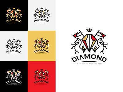 Diamond crown horse king design branding hats royalty logo diamond