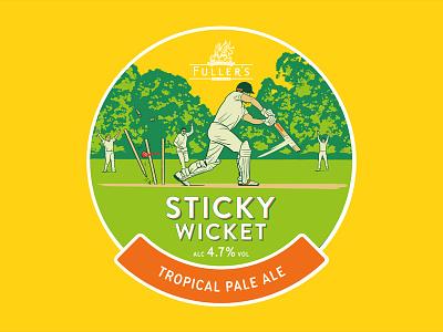 Sticky Wicket pump clip illustration summer cricket batting traditional ale beer