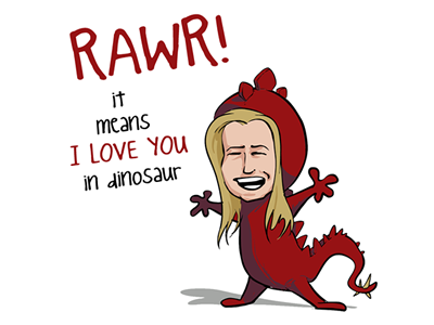RAWR! i love you rawr dinosaur illustration