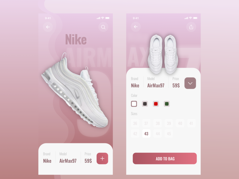 Nike first firstshot nike running product clean ui clean airmax shoes design app dribbble pink welcome web ux uiux ui nike
