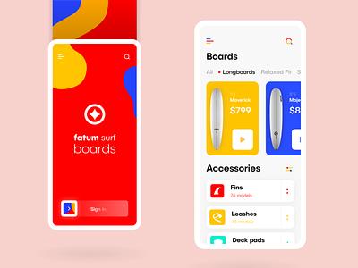 fatum maverick clean design firstshot app welcome shot ui welcome menu clean ui colorful clean boards surf