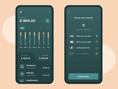 Finance app spent income app design financial cash clean clean ui clean design firstshot welcome shot visa topup account fintech charts balance finance app ui