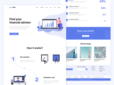 KEYO / Financial advisor landing page blue webdesign website design dribbble welcome shot clean design ui clean ui financial clean howitworks fintech landing illustrations managment finance