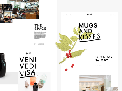 DA Landing typography design logo visa kiss mugs white coworking space shop coffee cafe da web branding