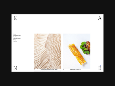 KANÉ Website food about reserve bucharest white new cuisine restaurant kane logo typography web branding