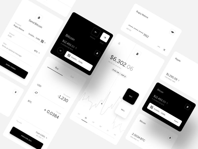 HybridBlock Wires sell buy cryptocurrency crypto blockchain trade wallet ripple bitcoin ui ux design app block hybrid