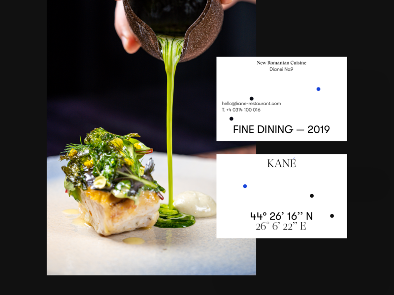 KANÉ Business Cards business card white typography design branding logo east north location coordinates romania cuisine new bucharest fining fine restaurant
