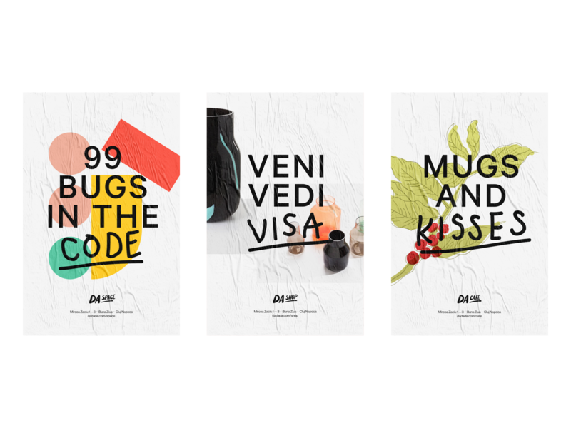 DA Posters poster white code coffee cafe typography shop design branding illustration logo