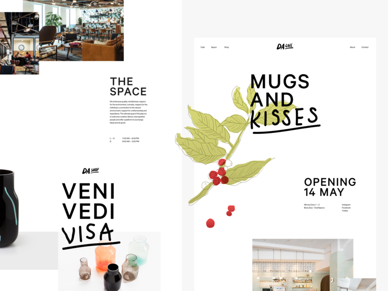DA Website clean white illustration web logo typography website branding design space shop coworking cafe da