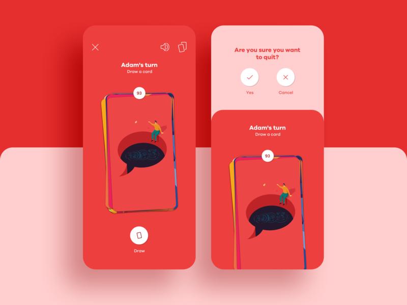 Closer App cards ux red icon typography design animation illustration branding ui game closer app