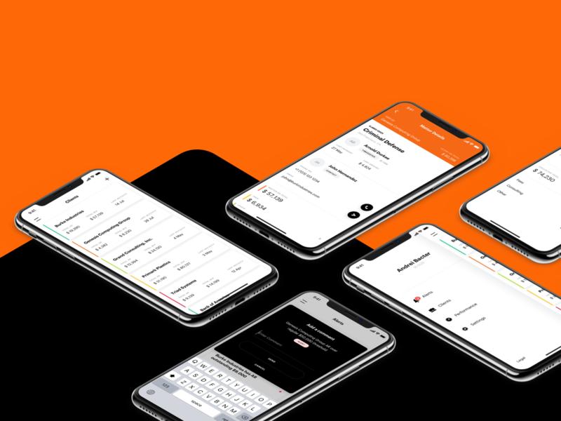 Client App lists client minimal ios app typography flat ux ui design