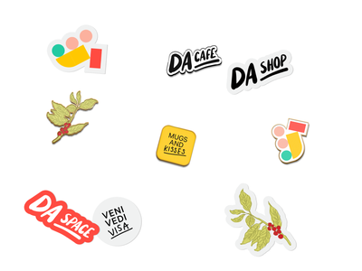 DA Stickers & Pins sticker pin logo design typography branding illustration space shop cafe da
