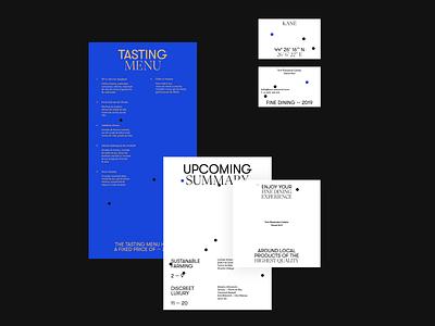 KANÉ blue white business card menu logo typography branding design romanian food restaurant kane