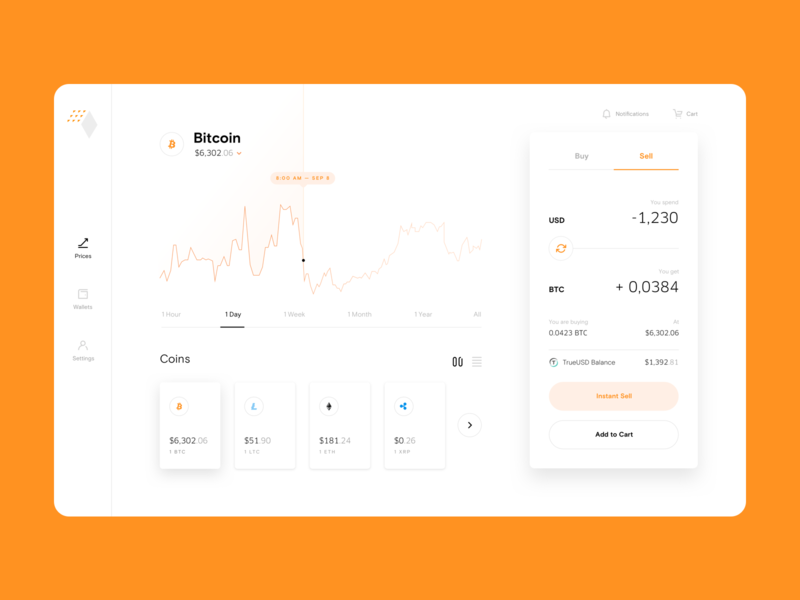 HybridBlock App orange wallet crypto price blockchain bitcoin typography ui web app ux branding design