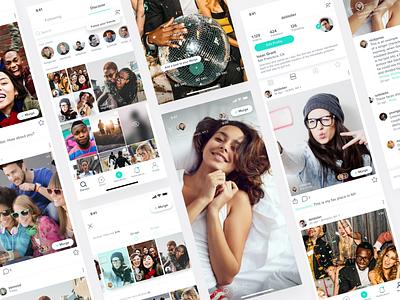 Social App follow white social ios app typography branding ux ui design