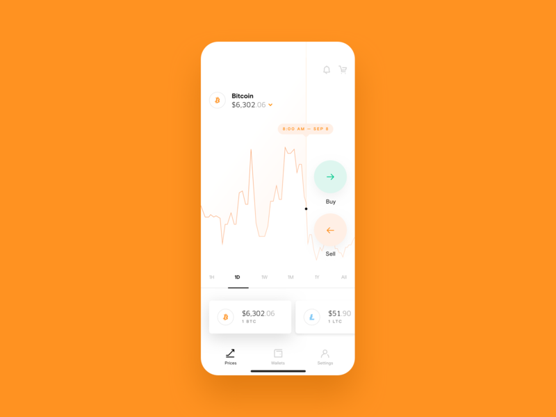 Hybrid Mobile ux ui orange mobile blockchain wallet crypto sell buy bitcoin ios app branding design hybrid
